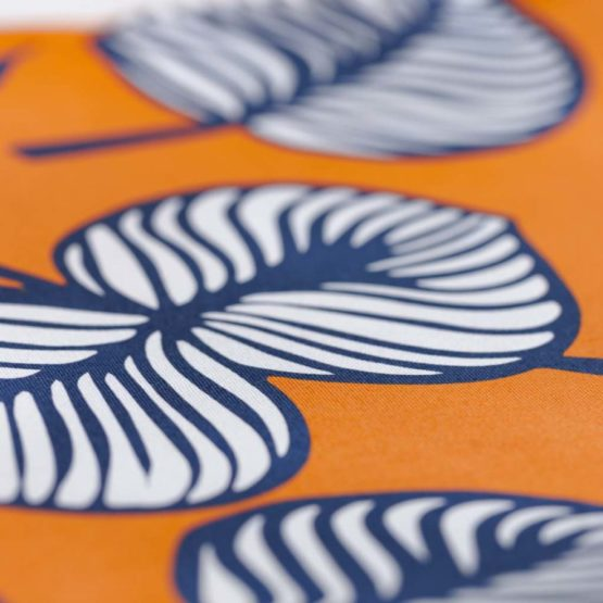 Blätter Canvas NELLIE orange blau aus Sew & More Kollektion