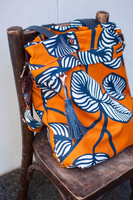 Blätter Canvas NELLIE orange blau aus Sew & More Kollektion, Designbeispiel von Mamakrawalla - Anna Candussi