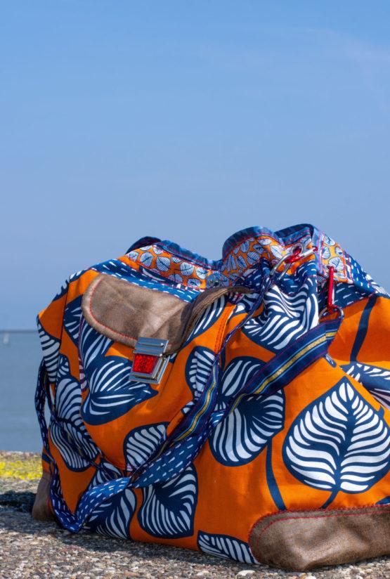 Blätter Canvas NELLIE orange blau aus Sew & More Kollektion, Designbeispiel von Farbenmix - Sabine Pollehn