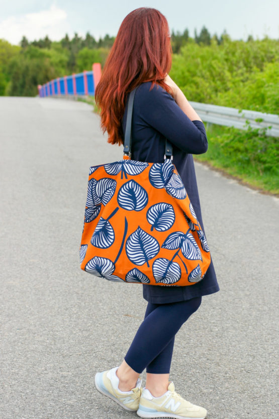 Blätter Canvas NELLIE orange blau aus Sew & More Kollektion, Designbeispiel von mirarostock - Mira Wehmer