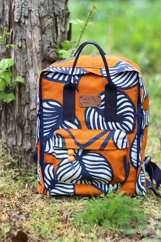 Blätter Canvas NELLIE orange blau aus Sew & More Kollektion, Designbeispiel von Nähte von Käthe - Katja Hilla