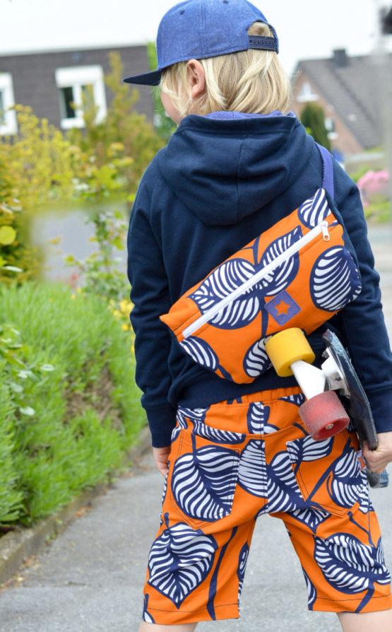 Blätter Canvas NELLIE orange blau aus Sew & More Kollektion, Designbeispiel von Stoffjäger - Daniel Engel