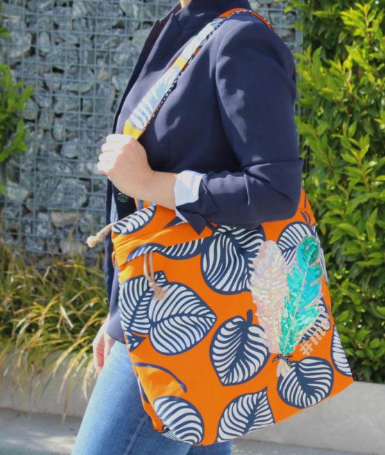 Blätter Canvas NELLIE orange blau aus Sew & More Kollektion, Designbeispiel von Timda näht - Denise Fockens