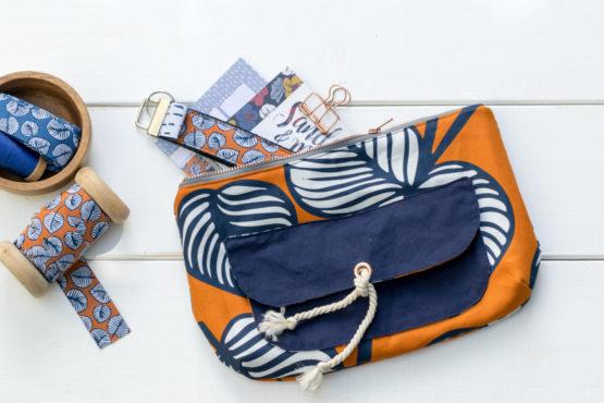 Blätter Canvas NELLIE orange blau aus Sew & More Kollektion, Designbeispiel von Zwirnguin - Dagmar Zundel