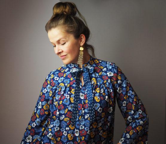 Blumen Viskose EMMY blau aus Sew & More Kollektion, Designbeispiel von CherryPicking - Anke Müller