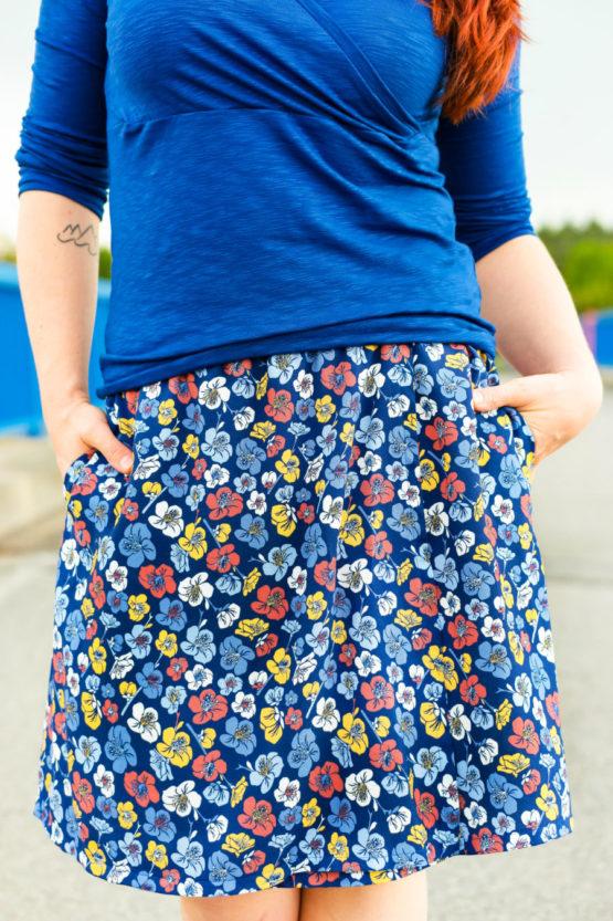 Blumen Viskose EMMY blau aus Sew & More Kollektion, Designbeispiel von mirarostock - Mira Wehmer