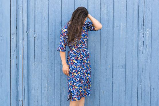 Blumen Viskose EMMY blau aus Sew & More Kollektion, Designbeispiel von Zwirnguin - Dagmar Zundel